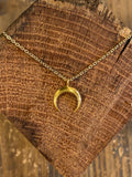 Gold filled horn pendant necklace