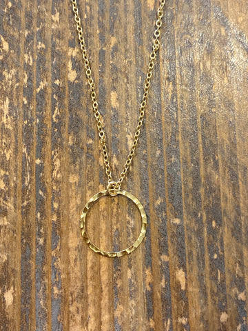 Gold Small Hammered Single Circle