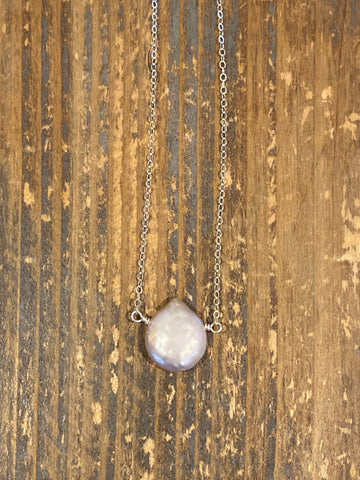 Pearlescent blush pink freshwater pearl teardrop silver necklace