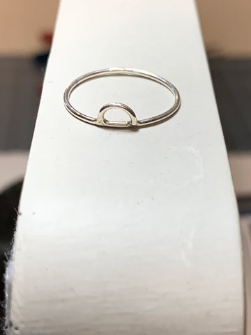 Silver half moon ring size 3