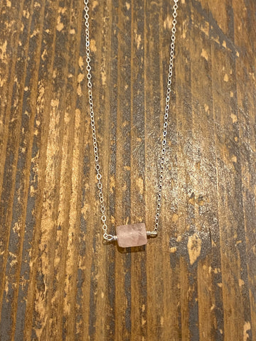Silver raw rose quartz rectangle necklace