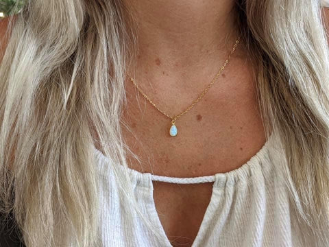 Gold Opal Teardrop Large Pendant Necklace