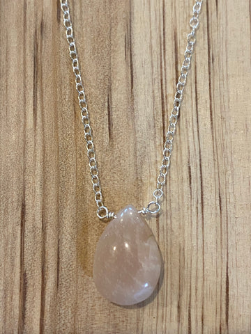 Silver Pink Opal teardrop gemstone necklace