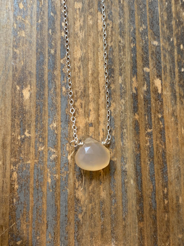 Silver peach chalcedony teardrop choker necklace