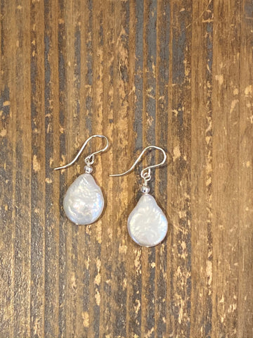 Freshwater pearl teardrop silver earrings
