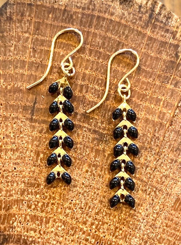 Black and Gold Ivy Earrings