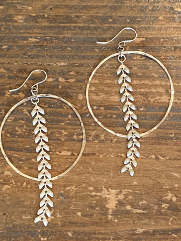 Silver Hoop & White Ivy Earrings