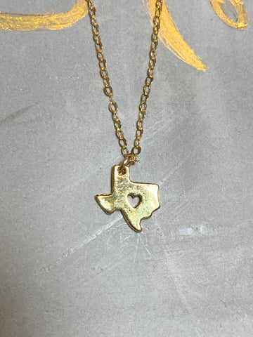 Gold Open Heart Texas Necklace
