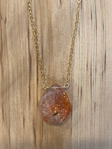 Gold large sunstone gemstone necklace