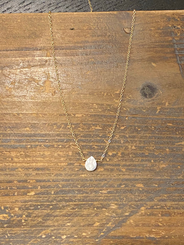 Gold pearl shell teardrop necklace