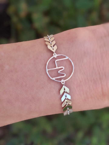 Personalized Initials Silver Ivy Bracelets