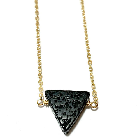 Aromatherapy Necklace - Black Triangle Lava Rock on Gold Filled Chain