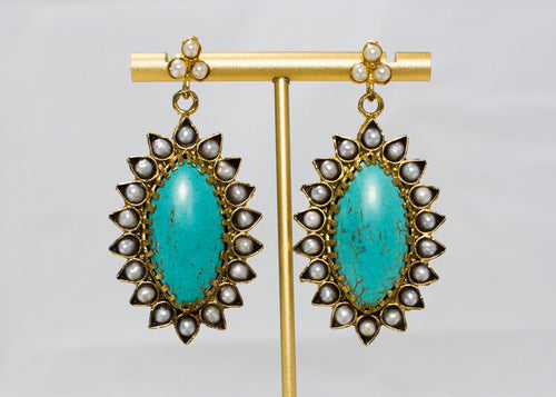 Large Turquoise and Fresh Water Pearl Drop Earrings