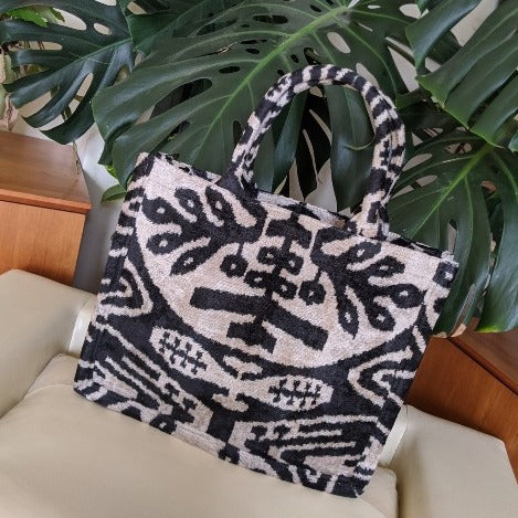 Black & Natural Large Silk Velvet Ikat Tote
