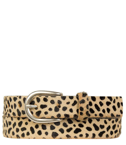 Cheetah print leather belt