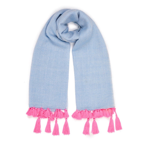 Herringbone Wool Scarf In Pale Denim Blue with Neon Pink Tassels