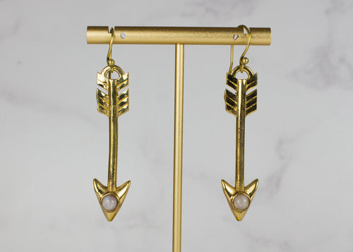 Gold Effect and Moonstone Arrow Earrings