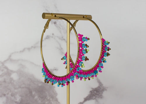 Bright Pink and Turquoise Beaded Large Hoop Earrings