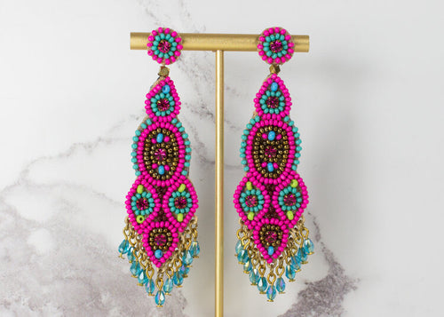 Turquoise and Pink Beaded Long Drop Earrings