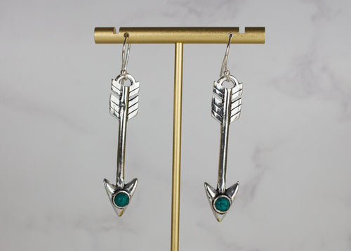 Silver Effect and Turquoise Arrow Earrings