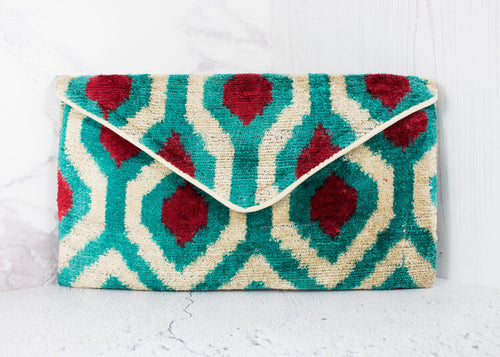 Lizzie Turquoise, Claret and Ivory Cotton Velvet Clutch Bag