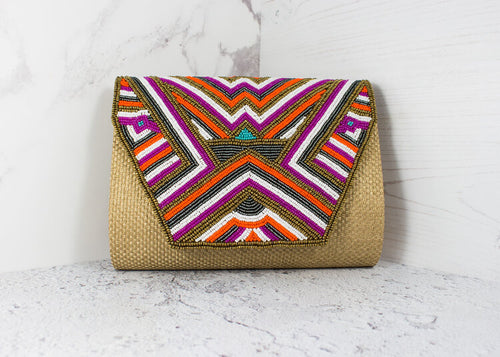Mia Beaded Raffia Style Woven Clutch Bag