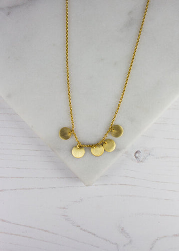 Gold Plated 5 Disc Necklace