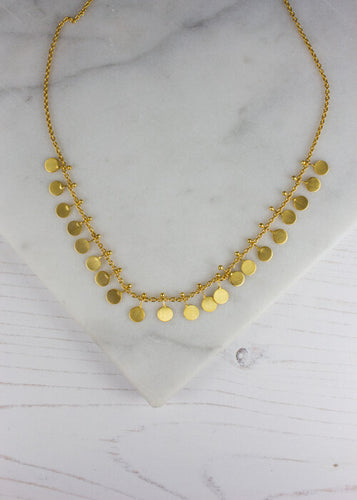 Gold Plated 21 Disc Necklace