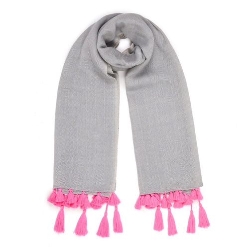 Herringbone Wool Scarf In Light Grey with Neon Pink Tassels
