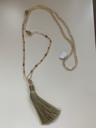 Crystal and Semi-Precious Stone Tassel Necklace