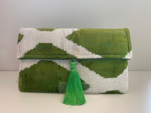 Green and Ivory Cotton Velvet Tassel Clutch Bag