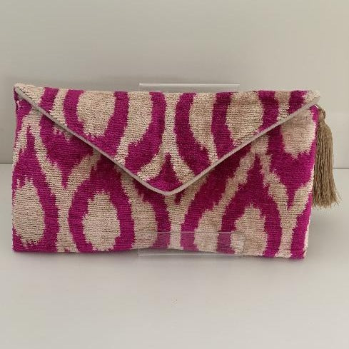 Aggie Mid Pink, Natural Cotton Velvet Ikat Clutch Bag