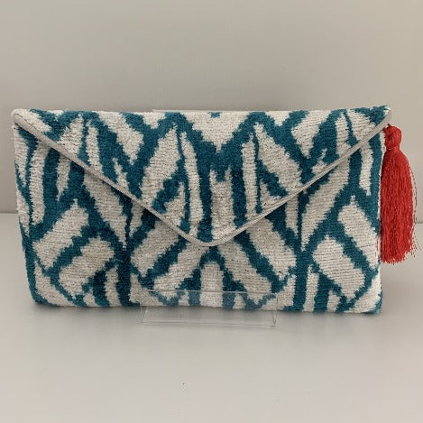 Alice Dark Teal Blue and Ivory Velvet Ikat Clutch Bag