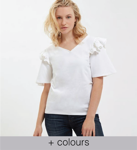 white frill shoulder tee