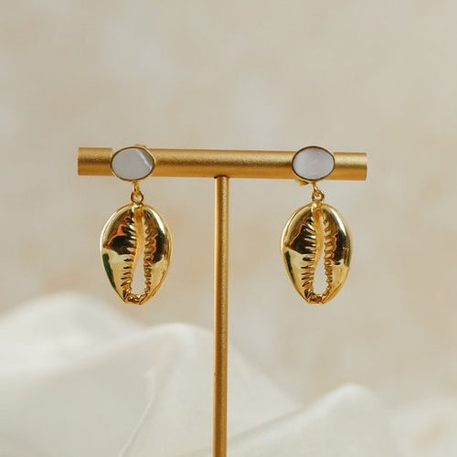 Cowrie Shell Drop 24ct Gold Plated