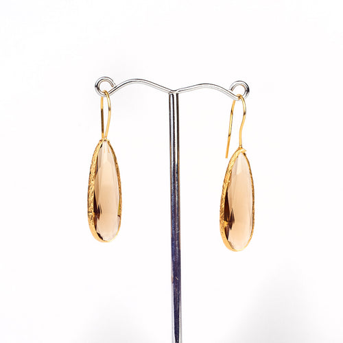 smoked quartz drop earrings