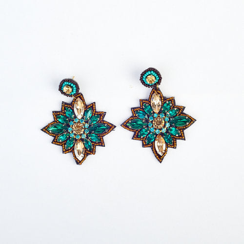 Green Gem and Bead Flower Earrings