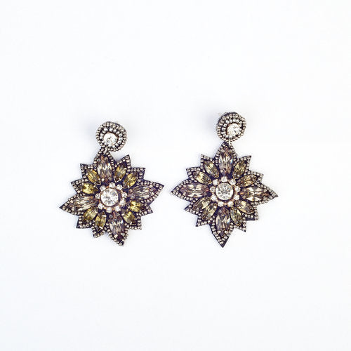 Silver Gem and Bead Flower Earrings