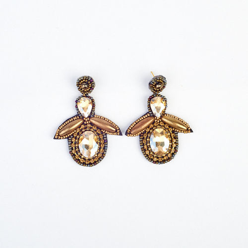 Bee Drop Gold Bead And Gem Earrings