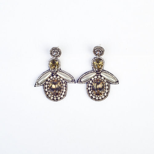 Bee Drop Silver Metallic Bead And Gem Earrings