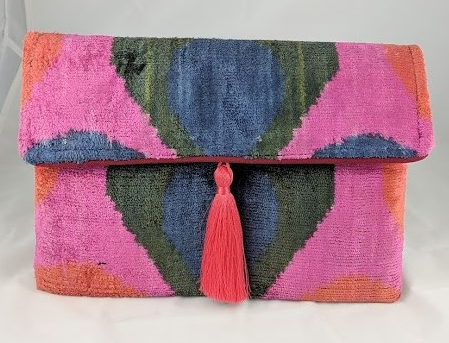 velvet clutch bag with tassel