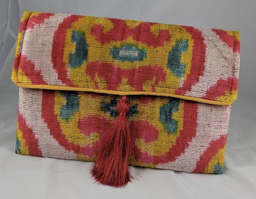 red and gold print silk velvet clutch bag