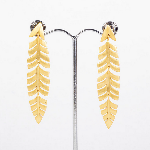 gold drop earrings leaf shape