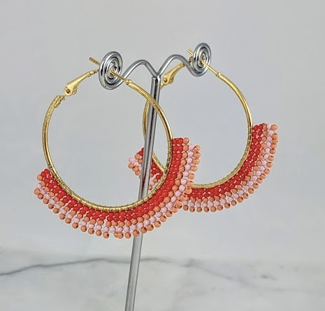 Pink and red beaded hoop earrings
