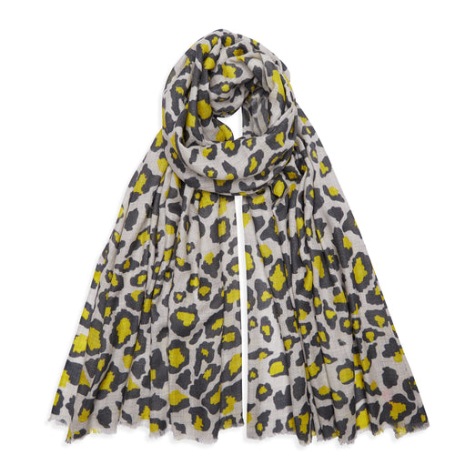 Dark Khaki/Yellow and Grey Leopard Cashmere Pashmina
