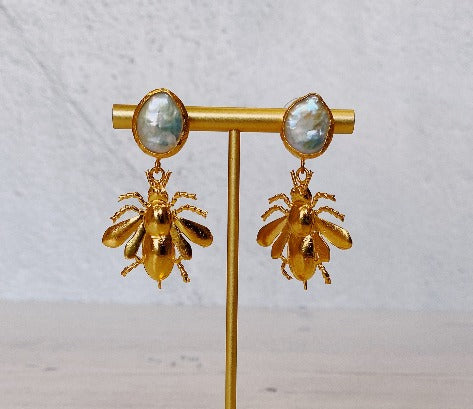 Bee Drop Earrings with Raw Pearl Stud (22ct Gold Plate)