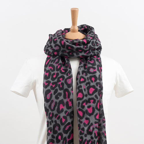 100% Wool Leopard Grey and Pink Print Scarf