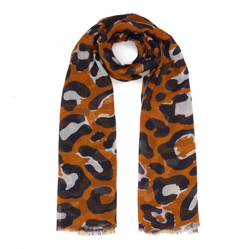 Dark Camel, Black and Soft White Leopard Print Modal Scarf