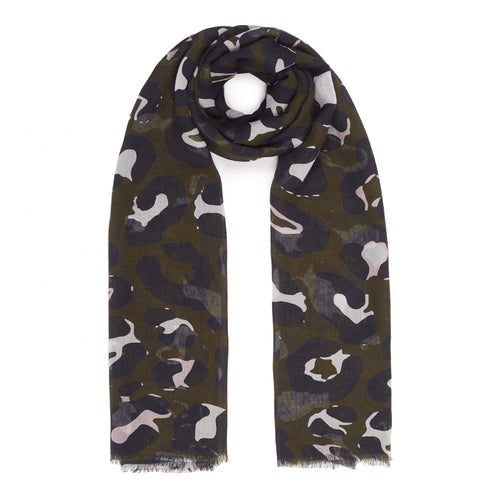Dark Olive, Black and Soft White Leopard Print Modal Scarf