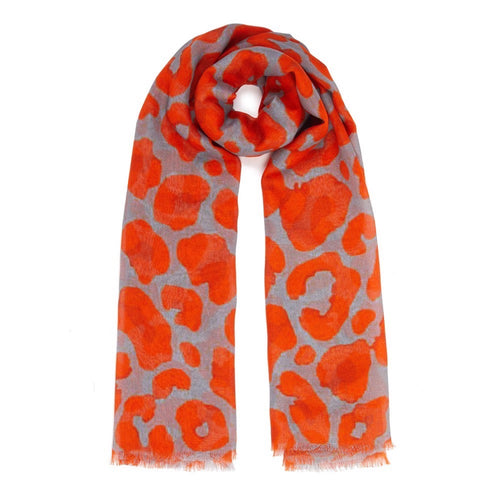 Orange & Taupe/Grey Leopard Print Modal Scarf